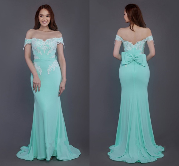 Mint Long   Bridesmaid     Dresses   2019 Bateau Prom   Dress   Off Shoulder Mermaid   Dresses   Bow Sashesvestidos de fiesta Wedding Party Wear