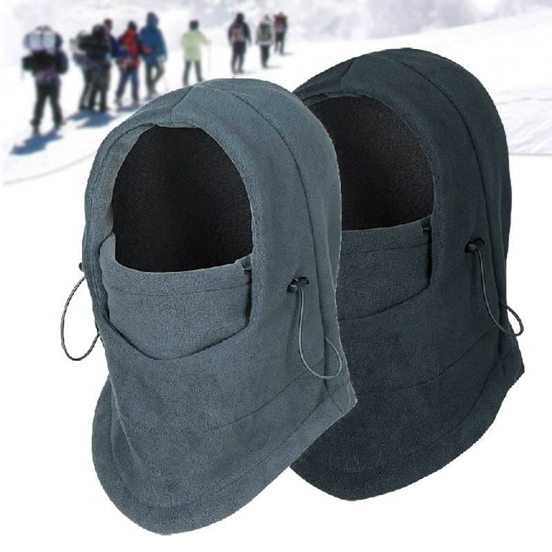 Thermal Fleece Balaclava Hat Hooded Neck Warmer Winter Sports Face Mask For Men Bike Helmet Beanies Masked Cap