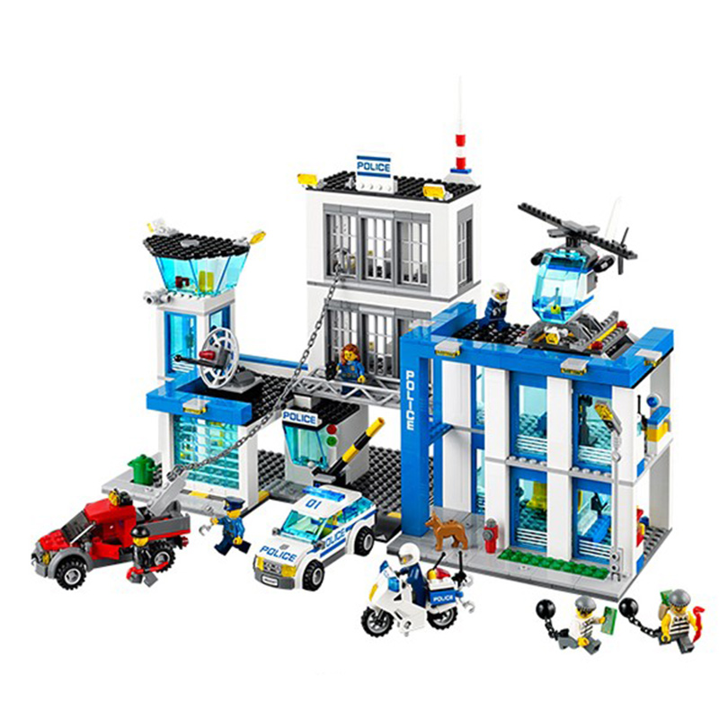 ФОТО  10424 City Police Station Car Helicopter Building Block set policemen figures  Compatible With  60047 Toy For Boy