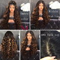 200% 8A Top Highlight Ombre Brazilian Hair Full Lace Human Hair Wigs With Baby Hair Curly Silk Top Full Lace Wigs Silk Base Wig