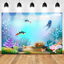 Neoback Mermaid Photography Backdrops Underwater Birthday Party Background for Children Baby Shower Banner Fish Water Grass