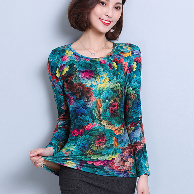 Plus Size 5XL Korean style   Blouses   Women Tops autumn long Sleeve o-neck Elegant print Women   blouse     Shirt   blusas femininas
