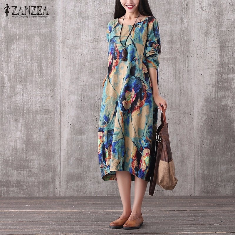New Arrival Women Autumn Dress 2016 Casual Loose Maxi Long Dress O Neck Long Sleeve Sexy Floral Print Dress Vestidos Plus Size