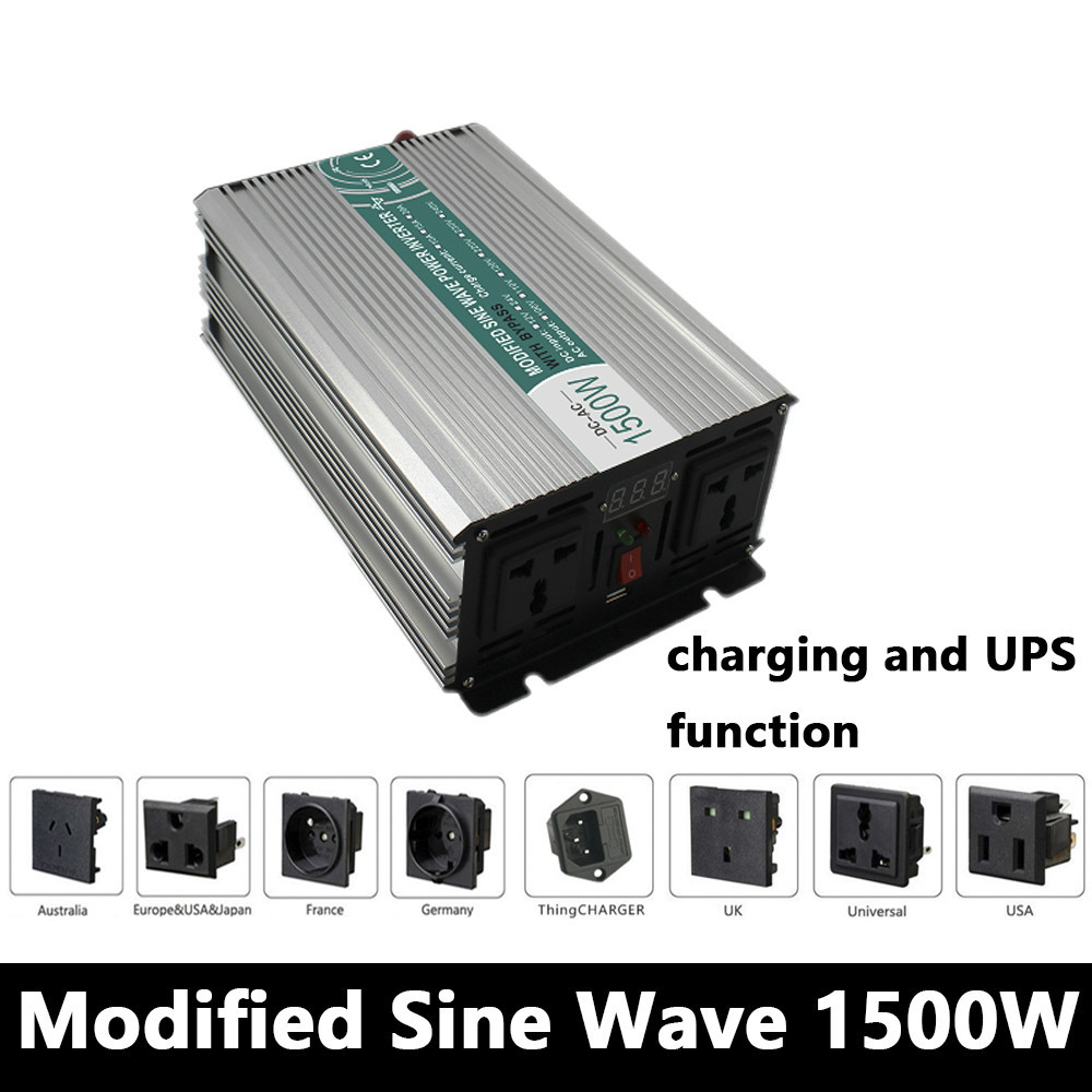 цена на 1500W Modified Sine Wave Inverter,DC 12V/24V/48V To AC110V/220V,off Grid power Inverter with charger and UPS,Solar inverter