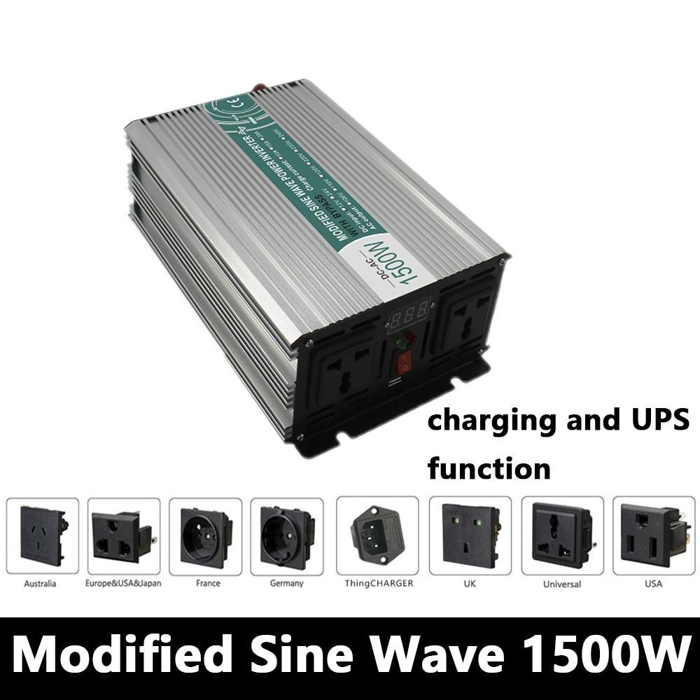 цена на 1500W Modified Sine Wave Inverter,DC 12V/24V/48V To AC110V/220V,off Grid power Inverter with charger and UPS,Solar inverter