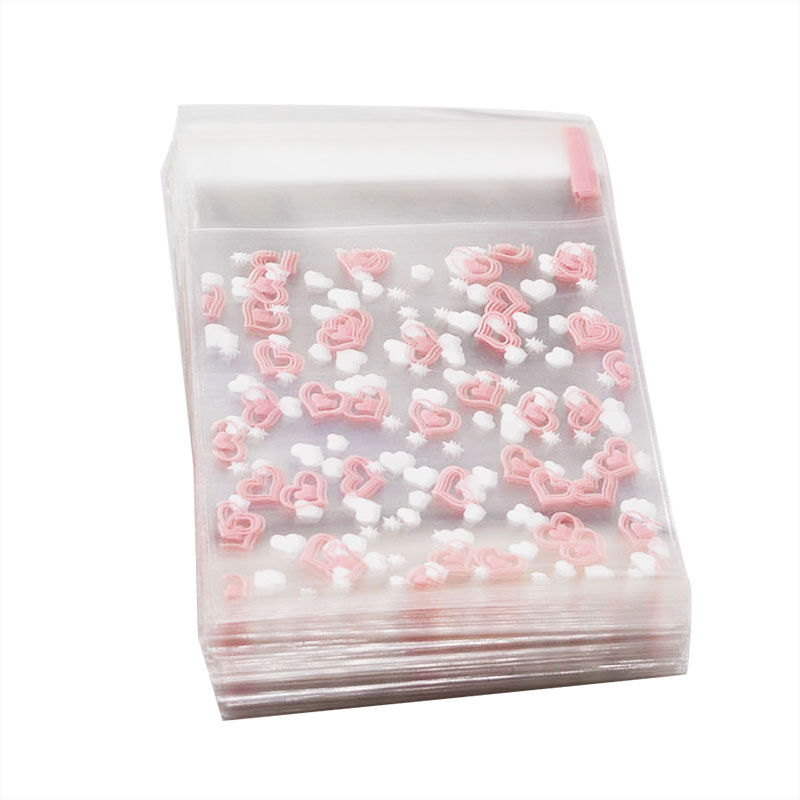 50/100pcs 7X7CM Transparent Heart Cookie Packaging Bag&Gift Candy Bags For Biscuits Snack Baking Package Wedding Gift Bag