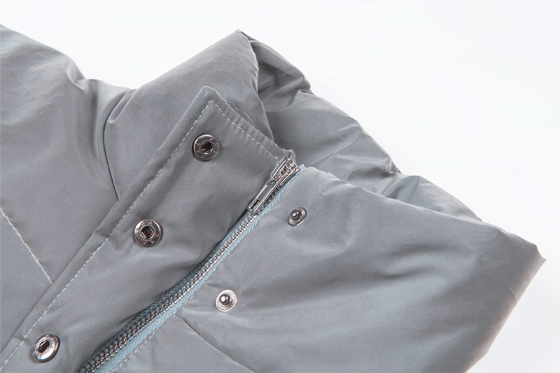 Dulzura flash reflective women padded jacket short tops warm 18 autumn winter solid zipper oversize loose outwear coats casual 24