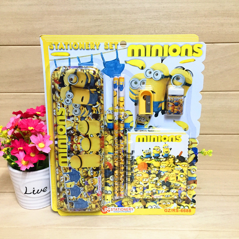 DESPICABLE ME MINIONS 5 Piece Small//Large Stationery Sets Pen Ruler Eraser Book