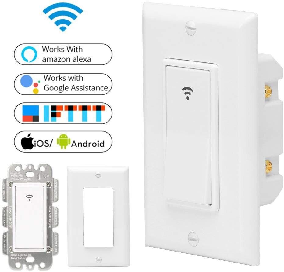 Interrupteur tactile Wifi interrupteur de lumière intelligent panneau interrupteur mural 1/2/3 voies Wifi interrupteur de lumière norme US avec maison blanc pur - 5