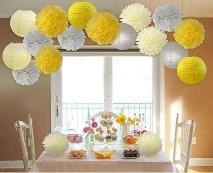 Yellow Grey Elephant Baby Shower Decorations 18 Pcs Cream Yellow