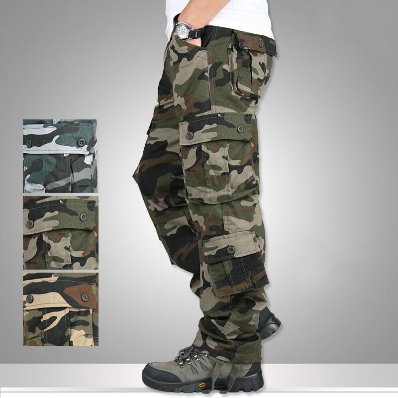 Mens loose Combat Camo Cargo Pants Casual straight leg outdoor work Trousers Sz