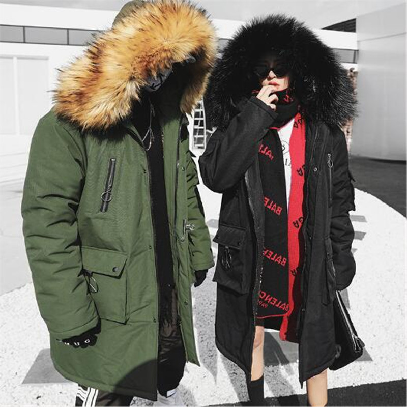 18 Amovible Chapeau Long Street Manteau Green De Épaissie military Col Black Extra Coton Vêtement Casual Large Hiver Nouvelle Style Couple Mode High rpqaSr