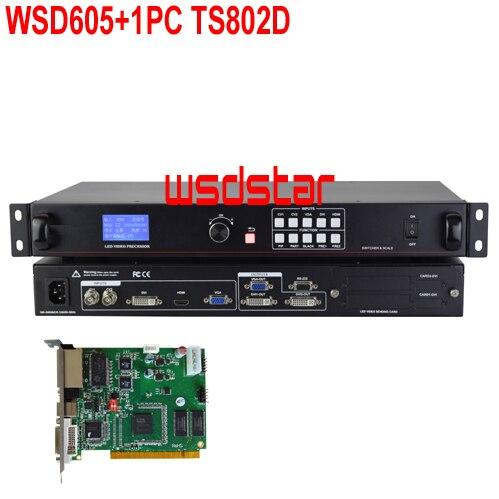 WsdStar WSD605 + 1 PC TS802D entrée DVI/HDMI/VGA/CVBS 2048*640 1920*1080 soutien PIP & POP LED écran de location processeur vidéo