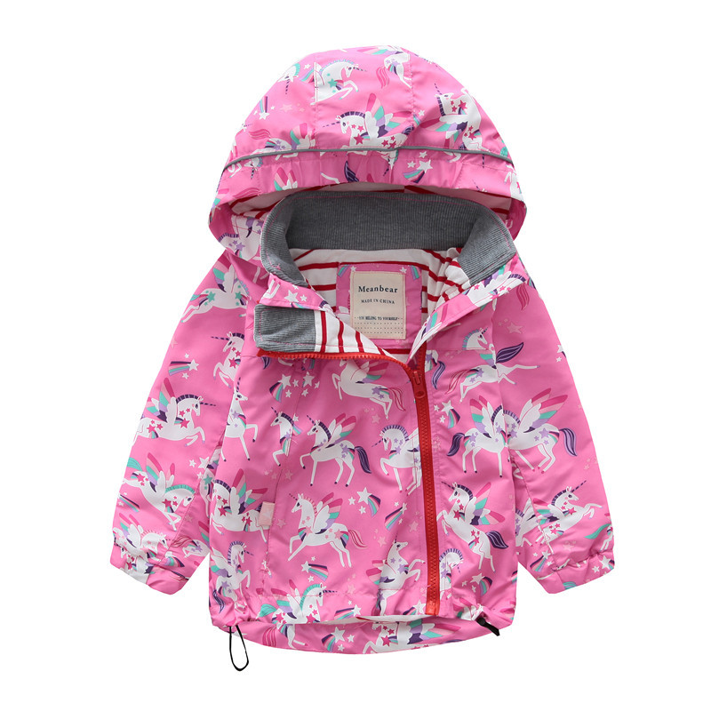 602bc4a6a0f8 2018 Toddler Girls Jacket And Coats Unicorn Flower Pattern Kids Windbreaker  Jackets Autumn Winter Jackets For Boys Children Coat