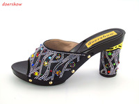 Luxury African Sandals Lady Shoes,New design Italy PU Leather High Heels Shoes For Party In Stock doershow! JK1 40