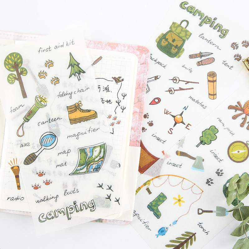 6 Pcs/pack Camping Outfit Decorative Washi Stickers Scrapbooking Stick Label Diary Stationery Album Stickers