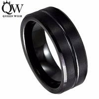 QueenWish Free Shipping Tungsten Carbide Black Wedding Rings Bands IP Grooved Center Brushed Finish Sizes 8