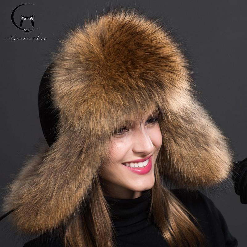 Luxe sibirski slog krzneni klobuk ruski rakun polni klobuk Ushanka za ženske 2018 NOVO naravni barvni krzneni klobuk