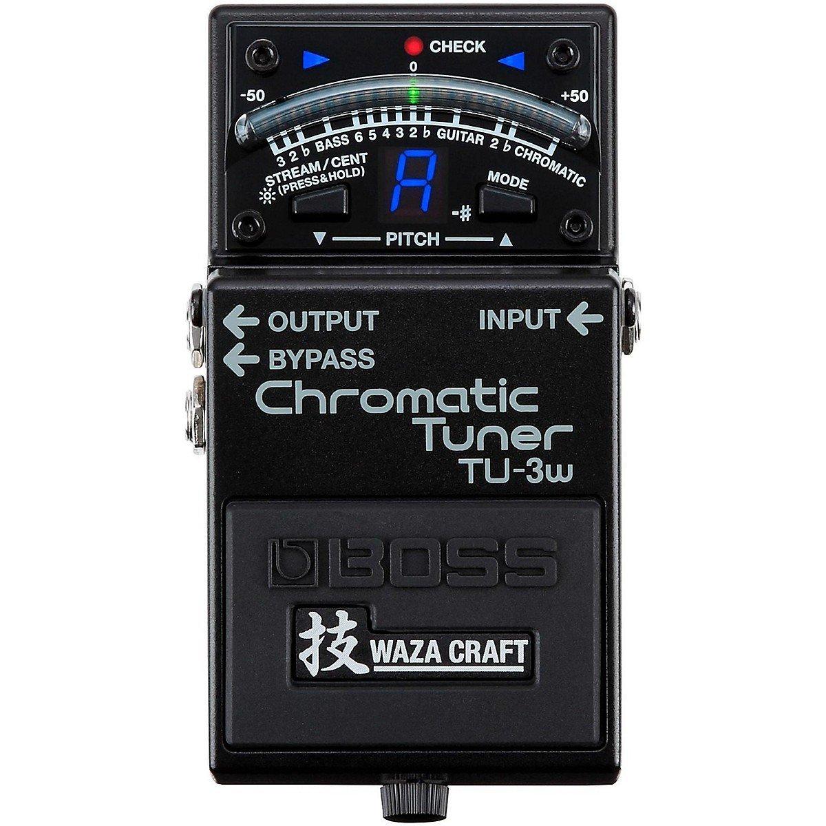 Accordeur chromatique Waza Craft de Boss TU-3W avec pédale de accordeur de guitare et de basse avec étui de pédale Bonus gratuit