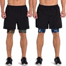 Мужские компрессионные черные тканые шорты с подкладкой внутри, для бега, фитнеса, для тренировок, дышащие, быстросохнущие, многоцветные на подкладке