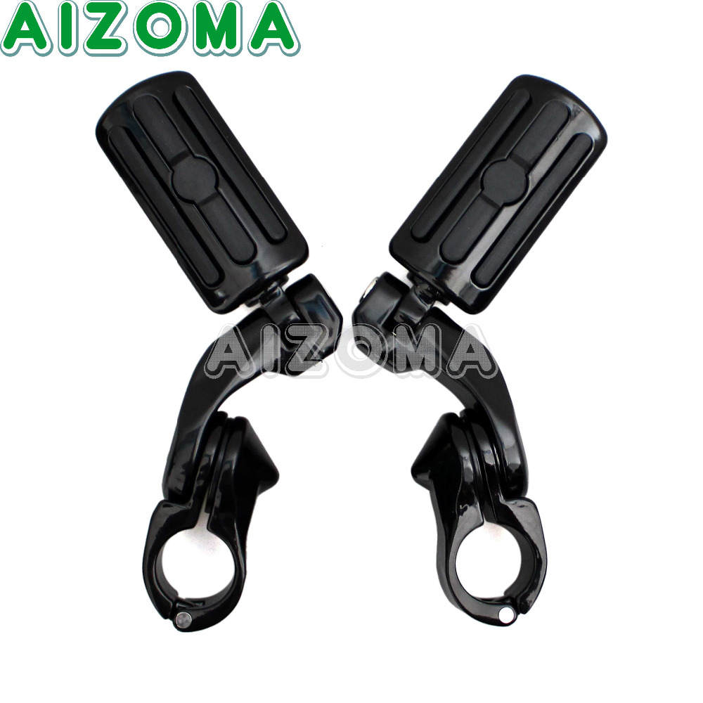 Black Highway Footpeg 1.25 32mm Engine Tube Foot Pegs Rest Motorcycle 1-1/4 Clamp Mount Footrests for Harley Street GlideBlack Highway Footpeg 1.25 32mm Engine Tube Foot Pegs Rest Motorcycle 1-1/4 Clamp Mount Footrests for Harley Street Glide