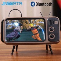 JINSERTA Wireless Bluetooth Speaker Portable Stereo Sound Box with MIC Support Handsfree TF Card U Disk Phone Holder Retro
