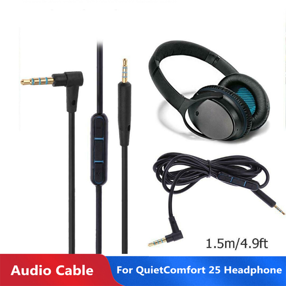 1.5 Meters 3.5mm to 2.5mm Male to Male Audio Cable Wire with Mic for Bose QC25 Headphone