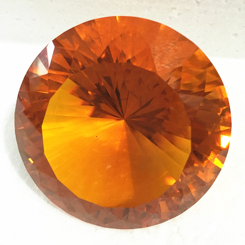 Bright 10cm 1pcs Amber Crystal Diamond Paperweight Glass Home Decor DIY Birthday Wedding Gift Party Souvenir Fengshui Crafts