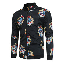 Men's facial print stand-up collar jacket coat in new autumn/winter 2019 face print stand collar snap front jacket