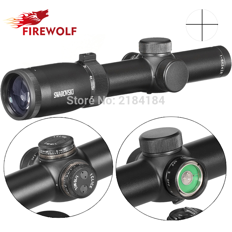 Hunting Swarovskl 1-6X24 Full Size Riflescope Red Mil Dot Optical Sights Glass Etched Reticle Shooting Rifle Scope