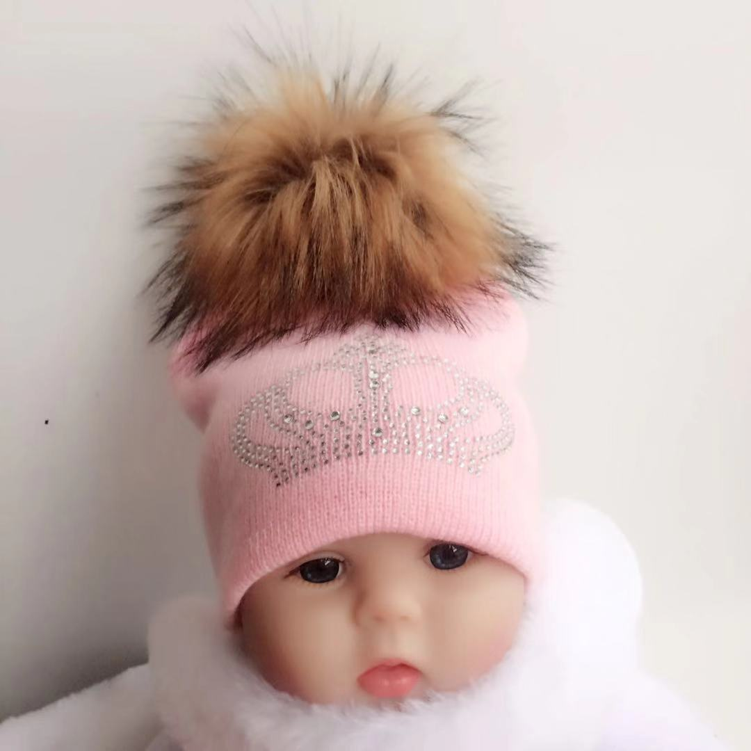 diamond embroidery baby knitted Warm Winter Wool hat cap girl boy kids faux  fur pompom children crown beanies casual skullies 6d99868a81e