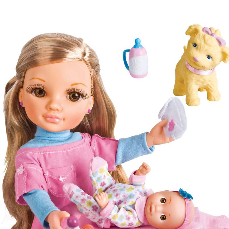 ФОТО 17 Inch Plastic Dolls Simulation Children Baby Juguetes Girl Had A Home Walk the Dog Children Birthday Gift Toys For Girls