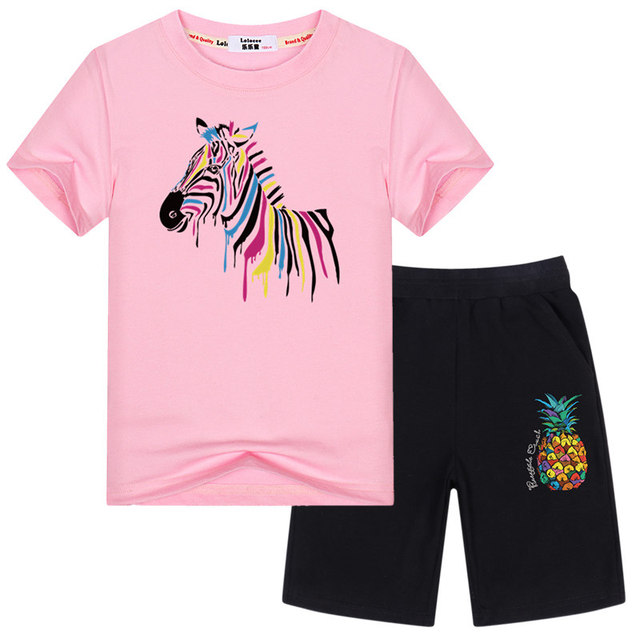 c7fe3f645 Girl Clothing Sets 100% Cotton Summer Sets Creative Graphic Tees + Shorts  Kids Lovely Sets Baby Girl Casual Sets