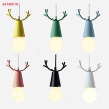 Nordic lamps modern simplicity childrens room creative living dining macaron pendant light antlers bar hanging lamp