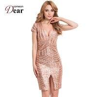 Comeondear RA80202 Special Occasion Women Bodycon Gold Blush Sequins Split Party Mini Dress Short Sleeve Vestido