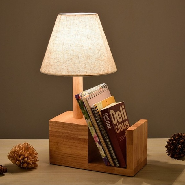 TUDA 26x43cm Free Shipping Natural Wooden Table Lamp Flax Fabric Lampshade Creative Bookshelf LED