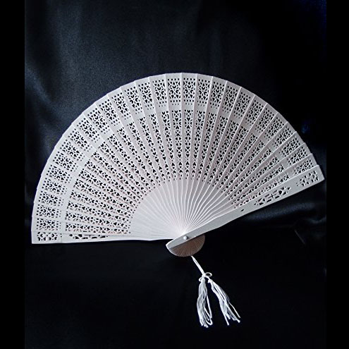 US $112 0 |100pcs Personalized Wedding Favor Gift Sandalwood Cutout Fans  Wood Color Hand Folding Fan lin2995-in Decorative Fans from Home & Garden  on