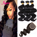 3Pcs Indian Natural Wave With Closure,Remy Hair Extension With ClosureBody Wave Human Hair Closure With Bangs Indian Virgin Hair