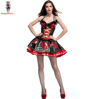Women Sexy Halloween Queen of Hearts Costume Adult Lattice Printed Fancy Dresses Fairy Tales Princess Dress New Costumes