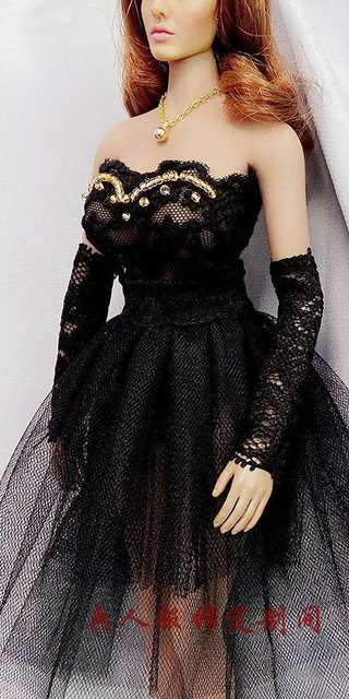 Estartek ET57 1 6 Sexy Lovely Black White Wedding Dress for Phicen Hotstuff  Loverly Doll 5a6047d93f89