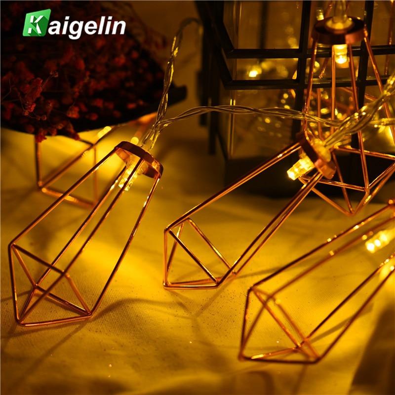 2M 20 LED Guld Diamond String Light 2 Modes LED Batteri Strängljus - Utomhusbelysning