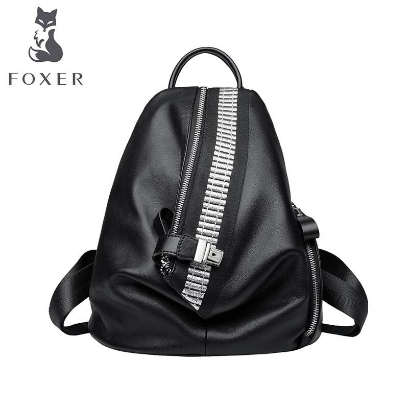 FOXER 2018 New Women Genuine leather bag designer famous brand leather women backpack Casual fashion leather backpack vieline genuine leather women backpack famous brand lady leather backpack leather school bag free shipping