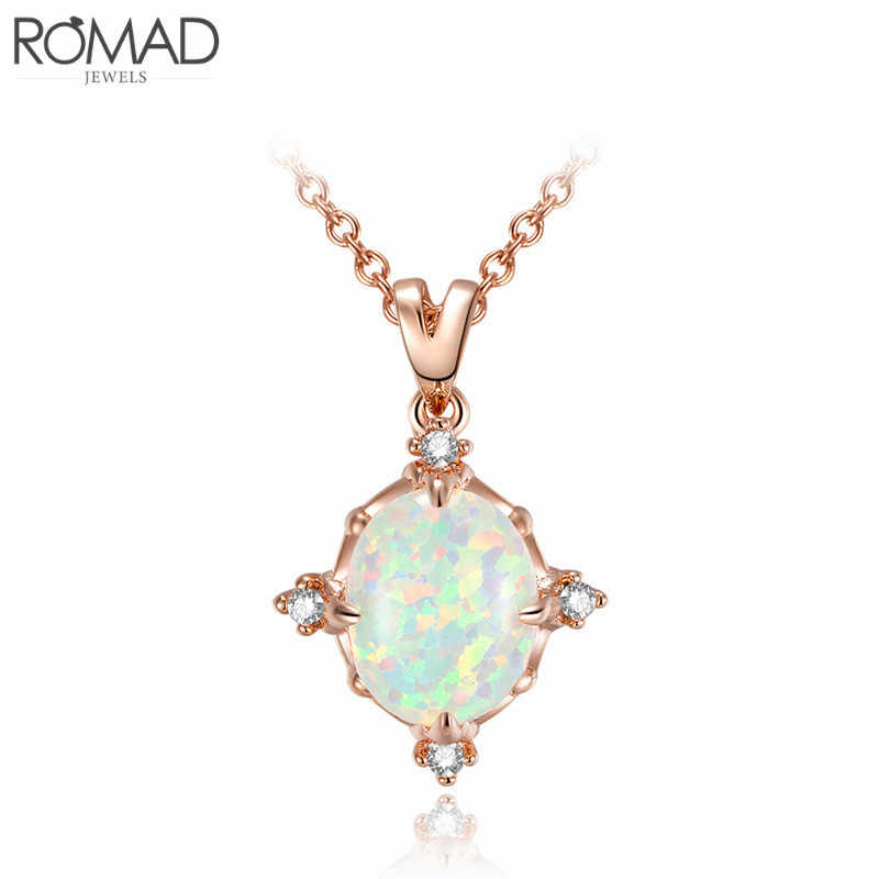 ROMAD Stainless Steel Ladies Jewelry Gray Pearl Necklace Women Colorful Rainbow Jewelery Pendant Indian Decorations Wholesale R5