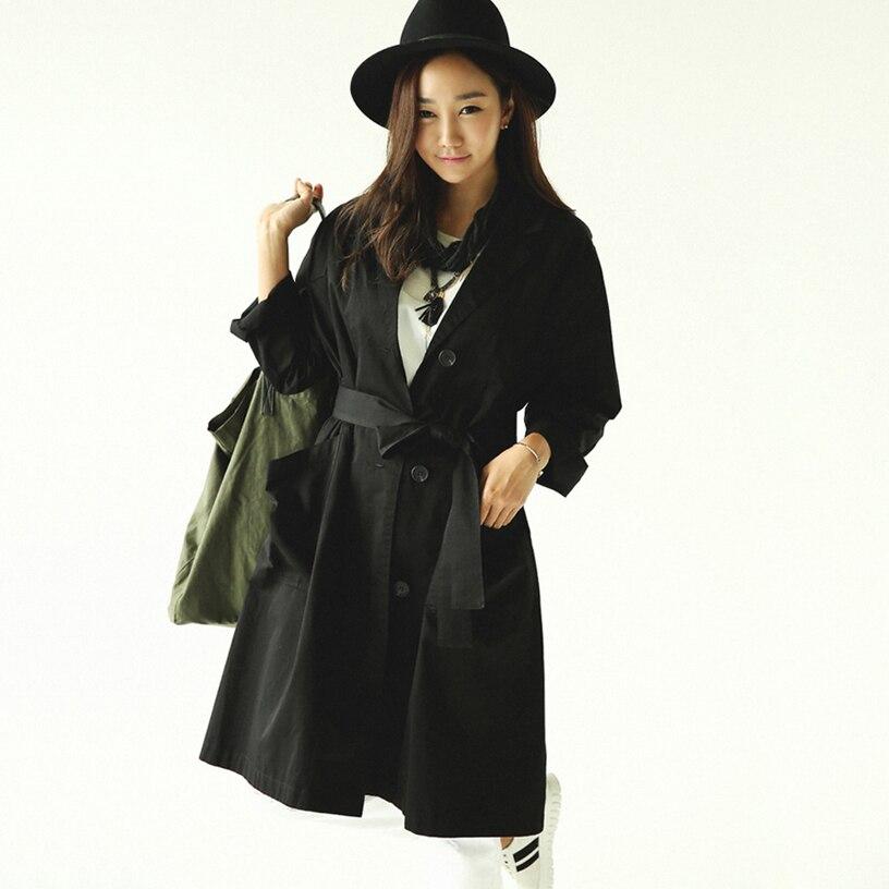 Plus velikost módní ženy dlouhý tren jaro podzim černá volný příležitostné bavlněné prádlo trenčkot 4 barvy S-2XL