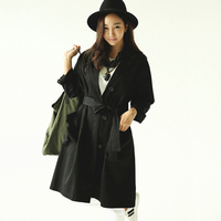 Plus Size Fashion Women Long Trench 2017 Spring Autumn Black Loose Casual Cotton Linen Trench