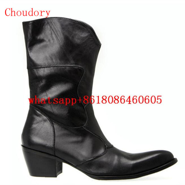 Choudory Winter autumn boots men black genuine leather mens knee high boots  high heels military boots handmade cowboy shoes adf86496fdc3
