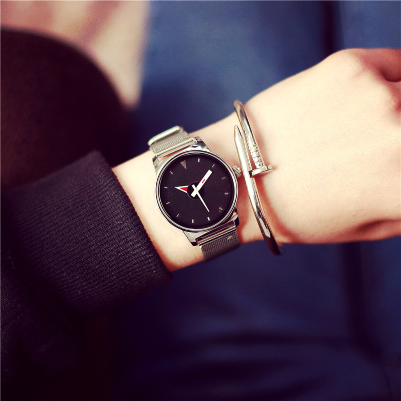 2016 New HOT Women's watches Stainless Steel fine mesh Quartz bracelet wristwatches women ladies dress watch with Gift