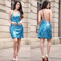 2017 Sexy Sleeveless Deep V Halter Split Sequin Mini Dress Backless Metal Christmas Party Dress Vestido