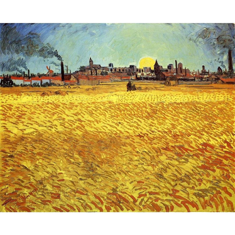 Landscapes art Summer Evening, Wheatfield with Setting sun by Vincent Van Gogh oil paintings canvas High quality hand-paintedLandscapes art Summer Evening, Wheatfield with Setting sun by Vincent Van Gogh oil paintings canvas High quality hand-painted