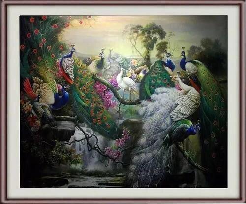 Не оформлена Павлин старший передал картину маслом по номерам Домашний Декор картина маслом на холсте стены Книги по искусству изображение